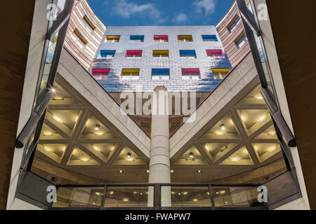 View looking up of the inner courtyard at number 1 Poultry in the City of London - Stock Photo