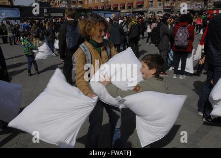 Copenhagen, Denmark. 2nd April, 2016. International pillow fight day at Copenhagen city hall sq. in Copenhagen Denmark - Stock Photo