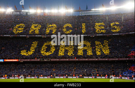 Barcelona. 2nd Apr, 2016. Football fans mark the words 'Thank you Johan' in memeory of the late Dutch football legend - Stock Photo