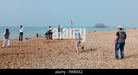 Brighton, UK. 3rd April, 2016. On the same day as the T20 Cricket World Cup Final is held  in India a group enjoy - Stock Photo
