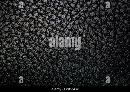 black leather texture background, close-up photo - Stock Photo