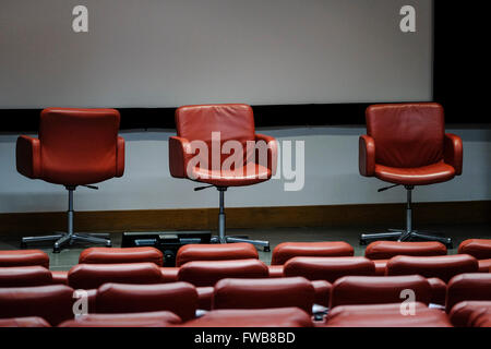 Empty chairs in a lecture theatre at the Royal Society of Medicine, One Wimpole Street, London. - Stock Photo