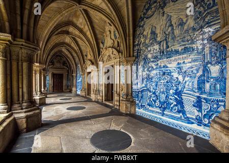 The 14th Gothic cloister with azulejos tilework, Porto Cathedral or Se do Porto, Porto, Portugal - Stock Photo