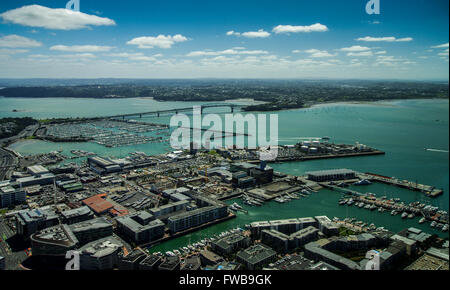 View of Auckland Harbour and Auckland Harbour Bridge from Sky Tower observation deck - Stock Photo