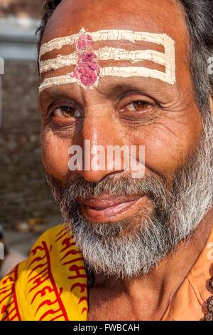 Nepal, Pashupatinath.  Hindu Sadhu (Ascetic). - Stock Photo