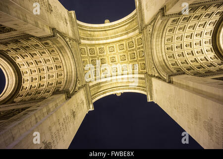 Arc de Triomphe bottom view at night - Stock Photo