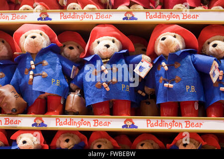 Paddington Bear soft toys - Stock Photo