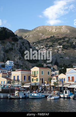 Symi harbour Dodecanese Island Greece - Stock Photo