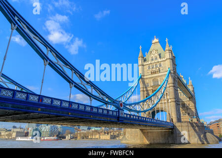 London Tower Bridge and River Thames from the north bank at day in the United Kingdom - Stock Photo