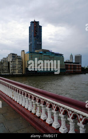 South bank of the River Thames, with construction of 1 Blackfriars, and the Mondrian Hotel. (taken August 2015) - Stock Photo