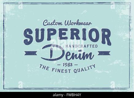 Custom Workwear Superior Denim print for t-shirt. Retro graphic for fashion or printing. Old school letters in vintage - Stock Photo