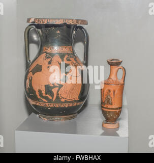 AZOV, RUSSIA- AUGUST 29- Red figured pelike and lekythos. 5th century BC. Clay, black lacquer in the museum - reserve - Stock Photo