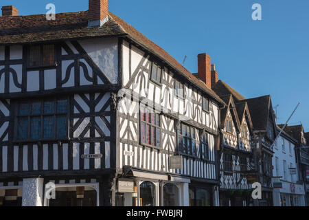 A typical medieval timber-framed building in the High Street, Stratford Upon Avon, England. - Stock Photo