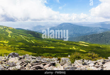 summer landscape of the Montenegrin ridge in Carpathians - Stock Photo