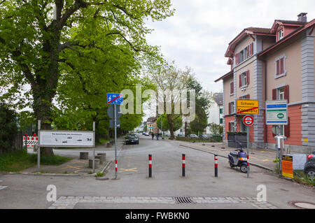 The national border between Germany and Switzerland in Konstanz city - Stock Photo