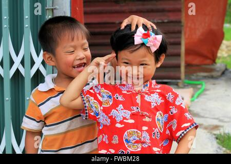 Portrait of smiling children, Sapa Surroundings, Vietnam, Asia - Stock Photo