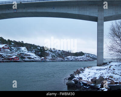 the bridge between orust and tjorn in winterlandscape - Stock Photo
