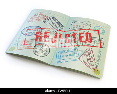 Passport with rejected visa stamp isolated on white. 3d - Stock Photo