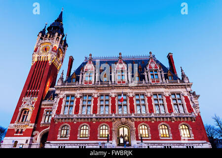 Calais city hall. Calais, Nord-Pas-de-Calais-Picardy, France. - Stock Photo