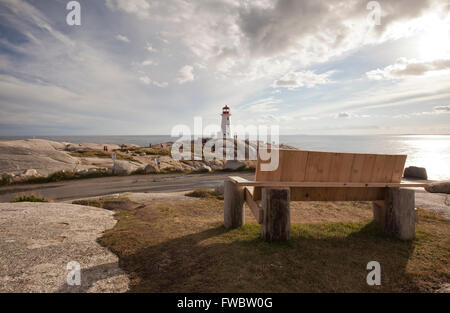 Peggys  Cove lighthouse in Nova Scotia Canada - Stock Photo