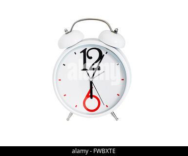 Analog desktop clock isolated on white background - Stock Photo