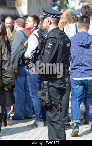 Armed policeman in London with tourists outside of Horse Guards in Whitehall. People - Stock Photo