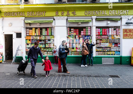 People outside a shop in China Town, London - Stock Photo