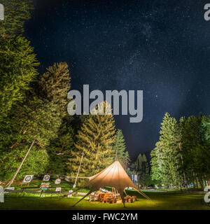 Camping Shelter Glows Surrounded by Trees Under a Night Sky Full of Stars - Stock Photo