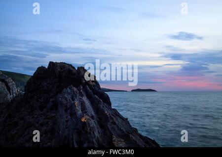 Cardigan Island at sunset - Stock Photo