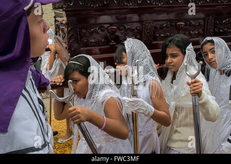 Holy Week processions in Guatemala city. Holy Thursday. Holy Week in Guatemala is celebrated with street expressions - Stock Photo
