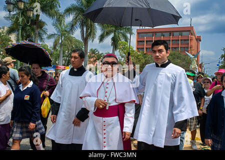 Óscar Vian, the archbishop of Guatemala. Holy Week processions in Guatemala city. Holy Thursday. Holy Week in Guatemala - Stock Photo
