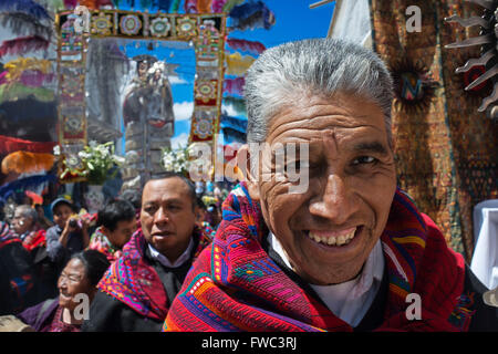 Chichicastenango, Quiche, Guatemala, Central America. Processions of Festival of Santo Thomas.  On Easter Sunday - Stock Photo