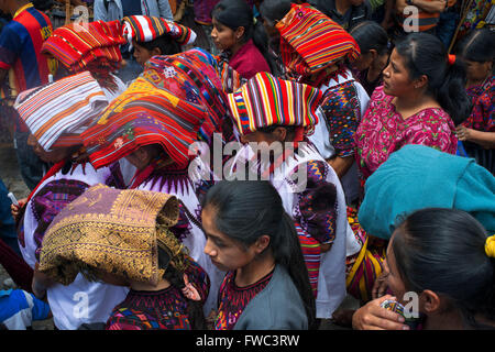 Chichicastenango, Quiche, Guatemala, Central America. Typical women hats during Holy Week processions. - Stock Photo