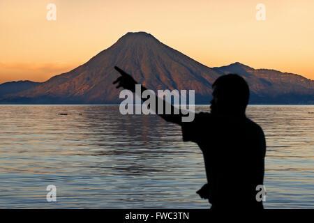 Toliman volcano, Lago de Atitlan, Guatemala, Central America - Stock Photo