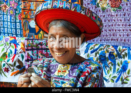 Concepcion Ramirez is the woman Tzutujil appears on coins of 25 cents of Guatemala. Woman in traditional dress as - Stock Photo