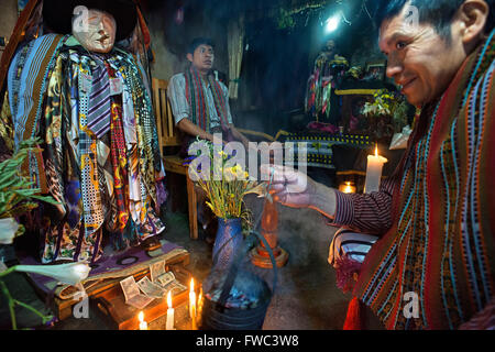 Shrine of El Maximon in Santiago De Atitlan, Guatemala. Maximon saint/devil is one of the strongest remnants of - Stock Photo