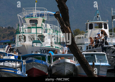 Boats in the dock of Santiago Atitlan, Lake Atitlan, Guatemala, Central America. - Stock Photo