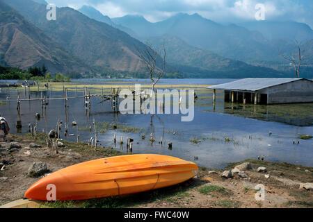 Kayak in San Juan La Laguna, Sololá, Guatemala. Santiago Atitlan, lake Atitlan, Guatemala. - Stock Photo