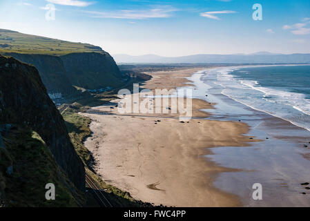 View of Downhill beach from Mussenden Temple, County Londonderry, Northern Ireland, UK, United Kingdom - Stock Photo