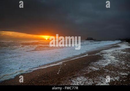 Brighton West Pier, Brighton beach, Brighton, England. - Stock Photo