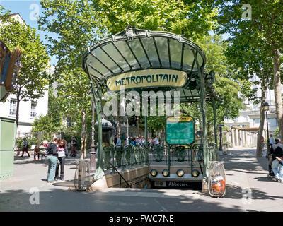 A conserved canopied Art Nouveau metro entrance designed by Hector Guimard, Place des Abbesses, Montmartre, Paris, - Stock Photo
