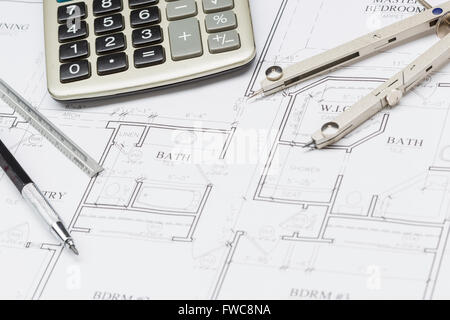 House building construction plans with calculator pencil for Custom home build calculator
