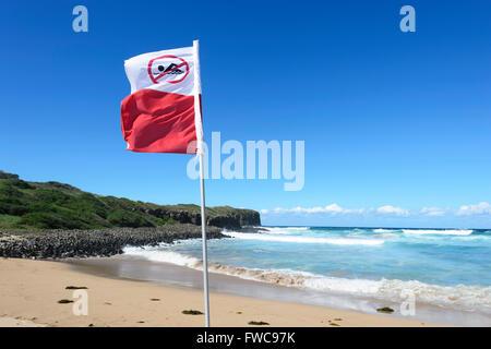 No Swimming Flag, Beach Closed after a Shark Attack, Bombo Beach, Kiama, Illawarra Coast, New South Wales, NSW, Australia Stock Photo