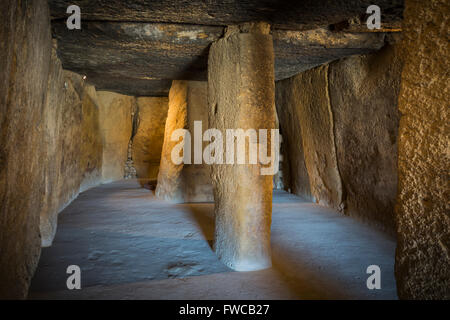 Antequera, Malaga Province, Andalusia, southern Spain.  La Menga Dolmen.  Interior. - Stock Photo