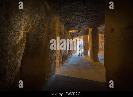 Antequera, Malaga Province, Andalusia, southern Spain.  La Menga Dolmen.  Interior. - Stock Photo
