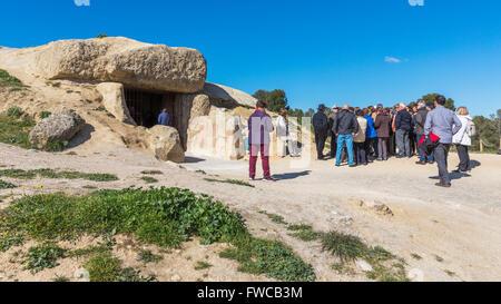 Antequera, Malaga Province, Andalusia, southern Spain.  Entrance to the La Menga Dolmen. - Stock Photo