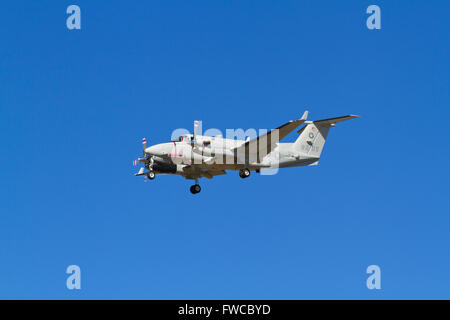 168205, Beechcraft Turboprop UC12W, Huron, USMC, US Marine Transport Squadron Belle Chasse on final approach to - Stock Photo