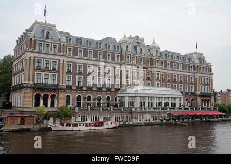 The Amstel Hotel (full title InterContinental Amstel Amsterdam Hotel) in Amsterdam, Netherlands. - Stock Photo