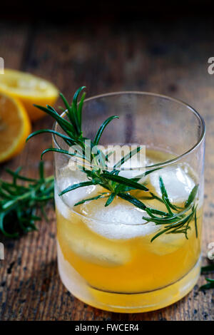 Whiskey sour cocktail with rosemary - Stock Photo