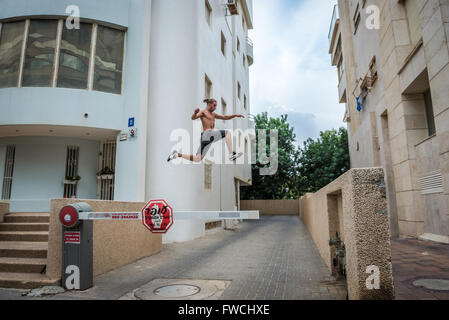 Parkour in Tel Aviv city, Israel - Stock Photo